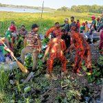 Anggap Ganggu Pemandangan, Lanal Tbk Inisiasi Gotong Royong Bersihkan Enceng Gondok Taman Hijau